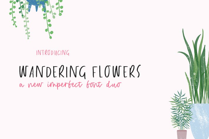 Thumbnail for Wandering Flowers Font Duo
