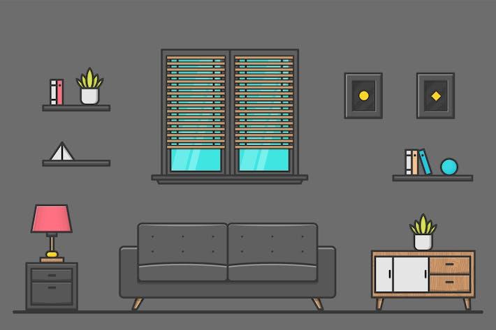 Thumbnail for Wohnzimmer Design Illustration