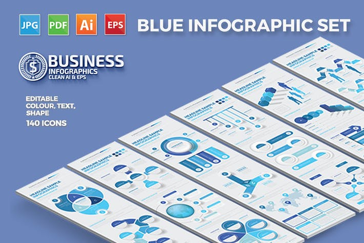 Thumbnail for Blue Business Infographics Design