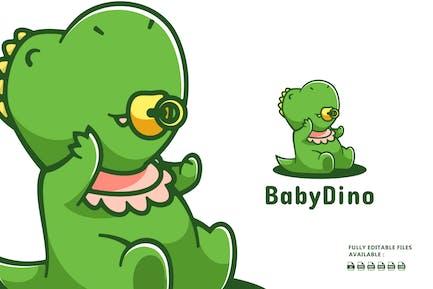 Cute Dinosaur Cartoon Logo