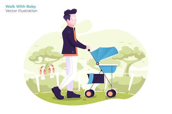 Walk With Baby - Ilustración Vector