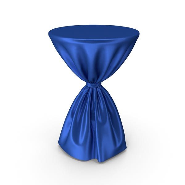 Blue Silk Tablecloth Cocktail Table