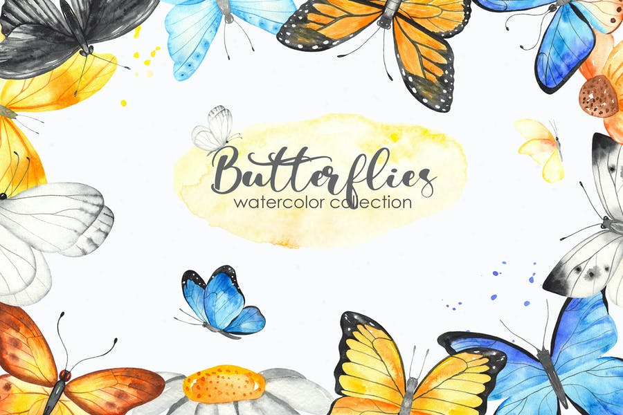 Watercolor Butterflies. Clipart, cards, frames