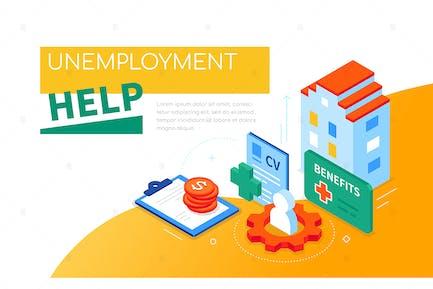 Arbeitslosenhilfe - bunte isometrische WebBanner