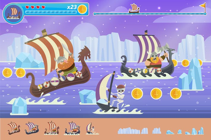 Cover Image For Viking Pirates Adventure Vector Game Illustration