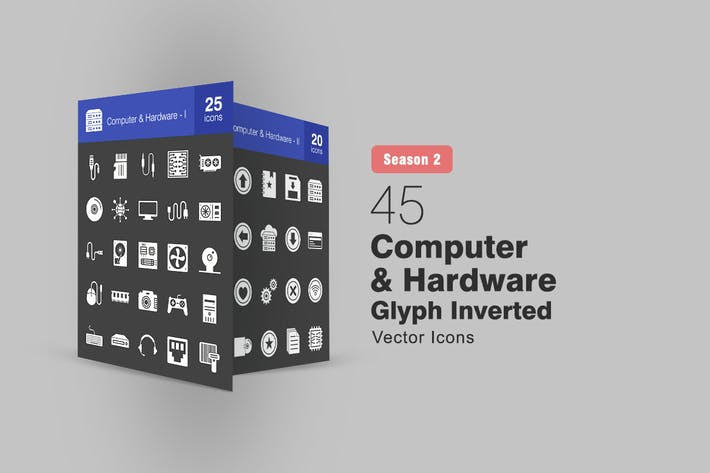 Thumbnail for 45 Computer & Hardware Glyph Inverted Icons S2
