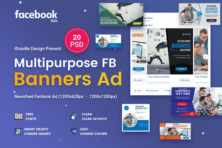 Thumbnail for Multipurpose Facebook Banner Ads - 20 PSD