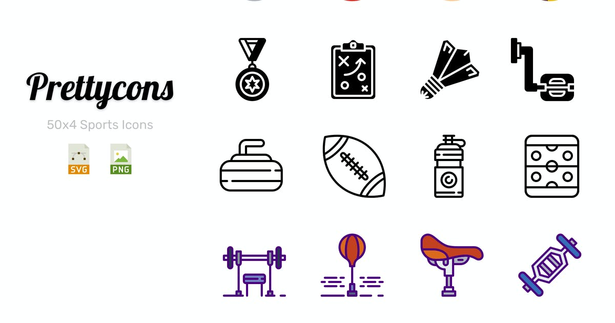 Download Prettycons - 200 Sports Icons Vol.1 by Prettycons
