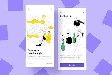 Illustrationen der mobilen Entertainment-Benutzeroberfläche