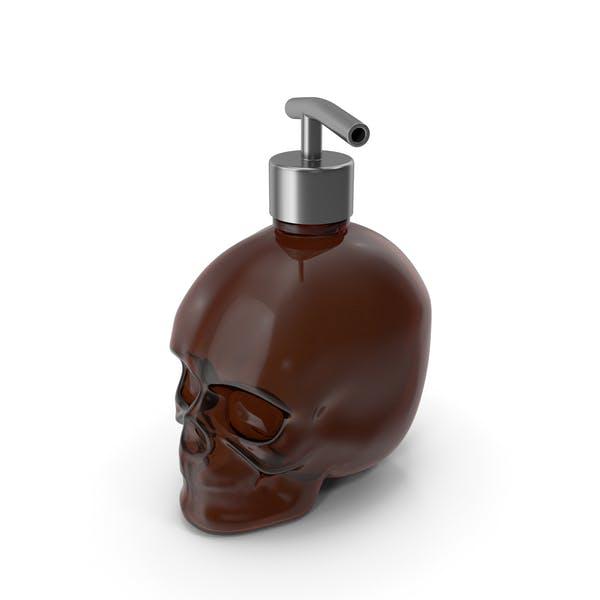 Dark Medical Glass Skull Bottle with Silver Dispenser