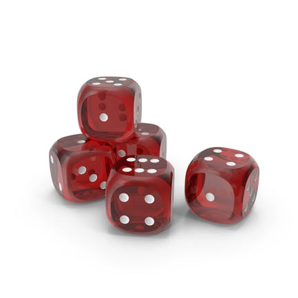 Dices Transparent Red White