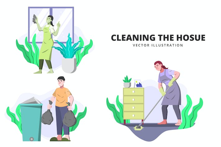 Cleaning The House - Activity Vector Illustration