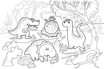 Dinosaurs in a Prehistoric Landscape