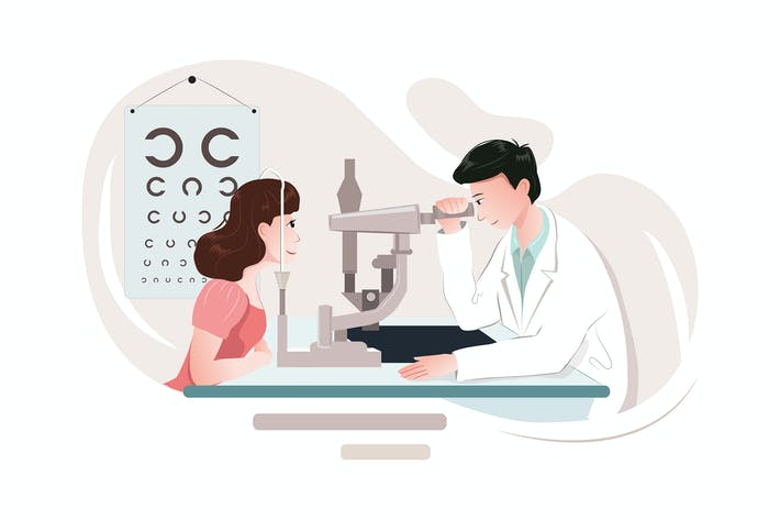 Cover Image For Optometrist doctor with medical equipment.