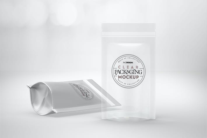 Cover Image For Clear or Foil Stand Up Pouches Packaging Mockup