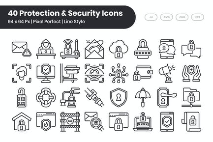 40 Protection & Security Icons Set - Line
