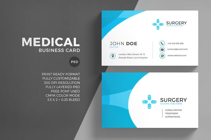 Medical Business Card Template by EightonesixStudios on Envato Elements