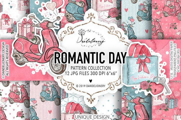 Thumbnail for Romantic Day digital paper pack
