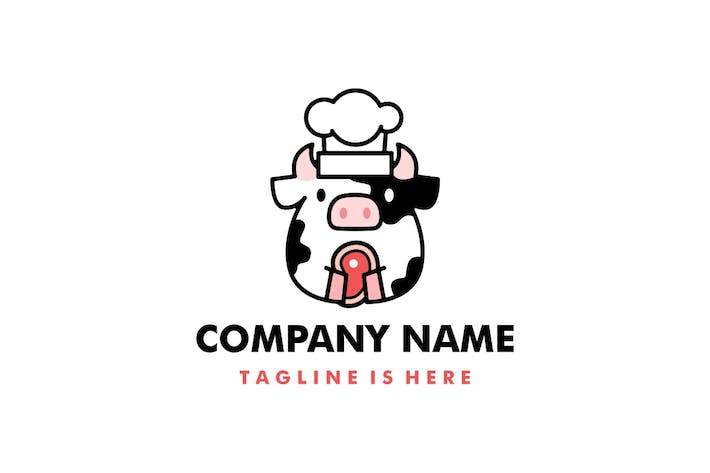 Cute Cow Beef Grill Cartoon Logo