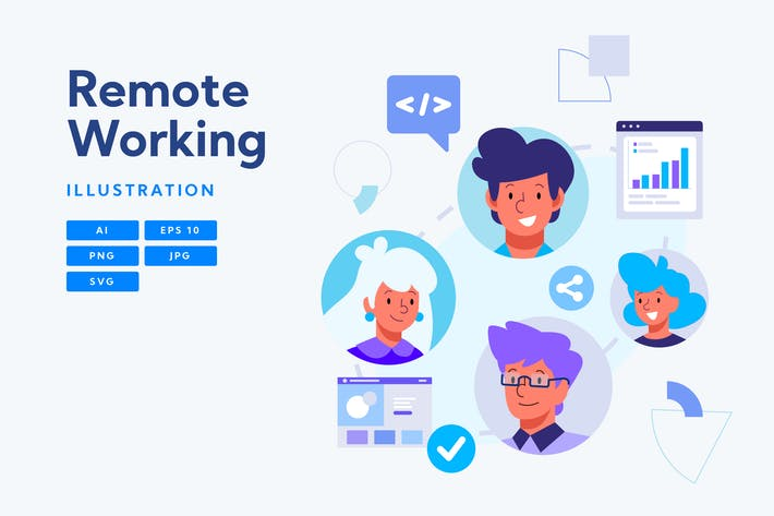 Remote Working or Online Meeting Illustration