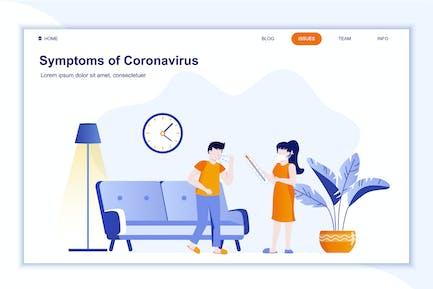 Symptoms of Coronavirus Landing Page Flat Concept