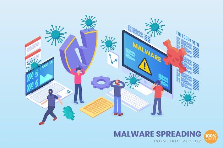Isometric Malware Spreading Vector Concept