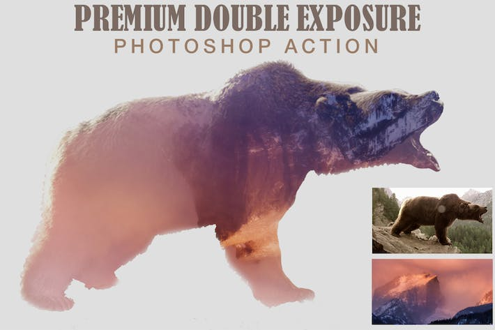 Thumbnail for Premium Double Exposure Photoshop Action