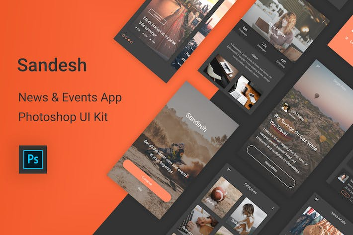 Cover Image For Sandesh - News & Events Photoshop UI Kit