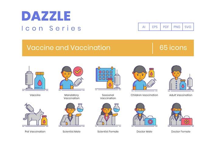 Thumbnail for 65 Vaccines and Vaccination Line Icons