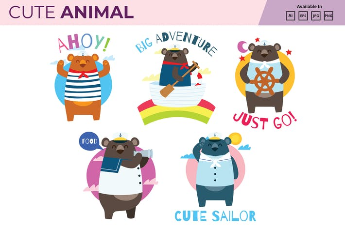 Thumbnail for Sailor bear collection JPG PNG