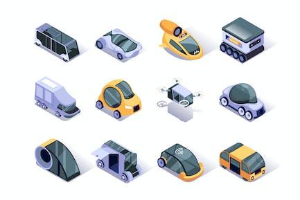 Autonomous Vehicles Isometric Icons Set