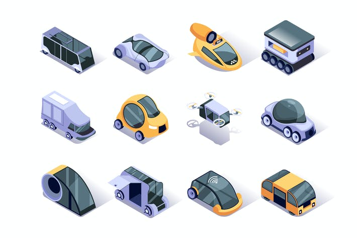 Thumbnail for Autonomous Vehicles Isometric Icons Set