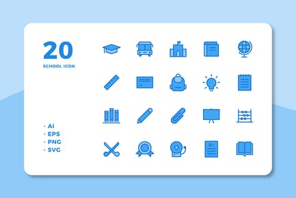 20 School Icons (Lineal Color)