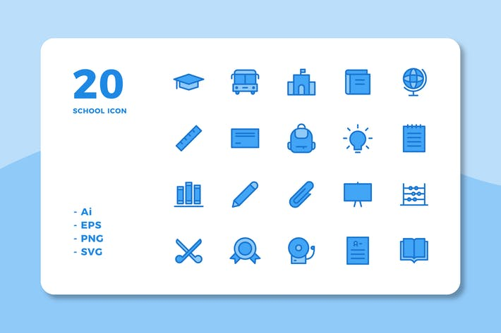Thumbnail for 20 School Icons (Lineal Color)