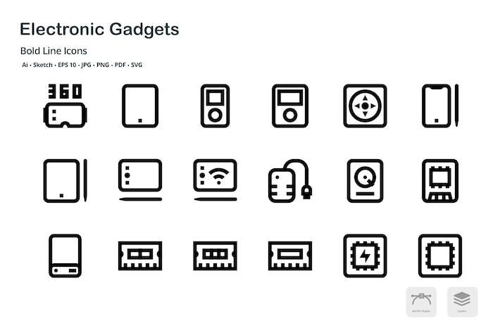 Thumbnail for Gadgets Électronique Mini Bold Line Icônes Vecteur