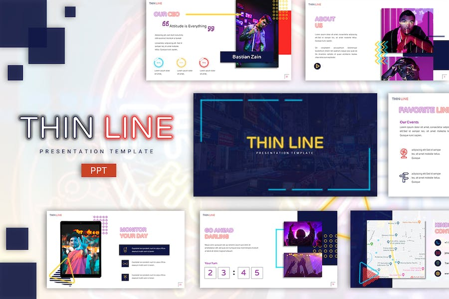 Thin Line - Neon Powerpoint Template