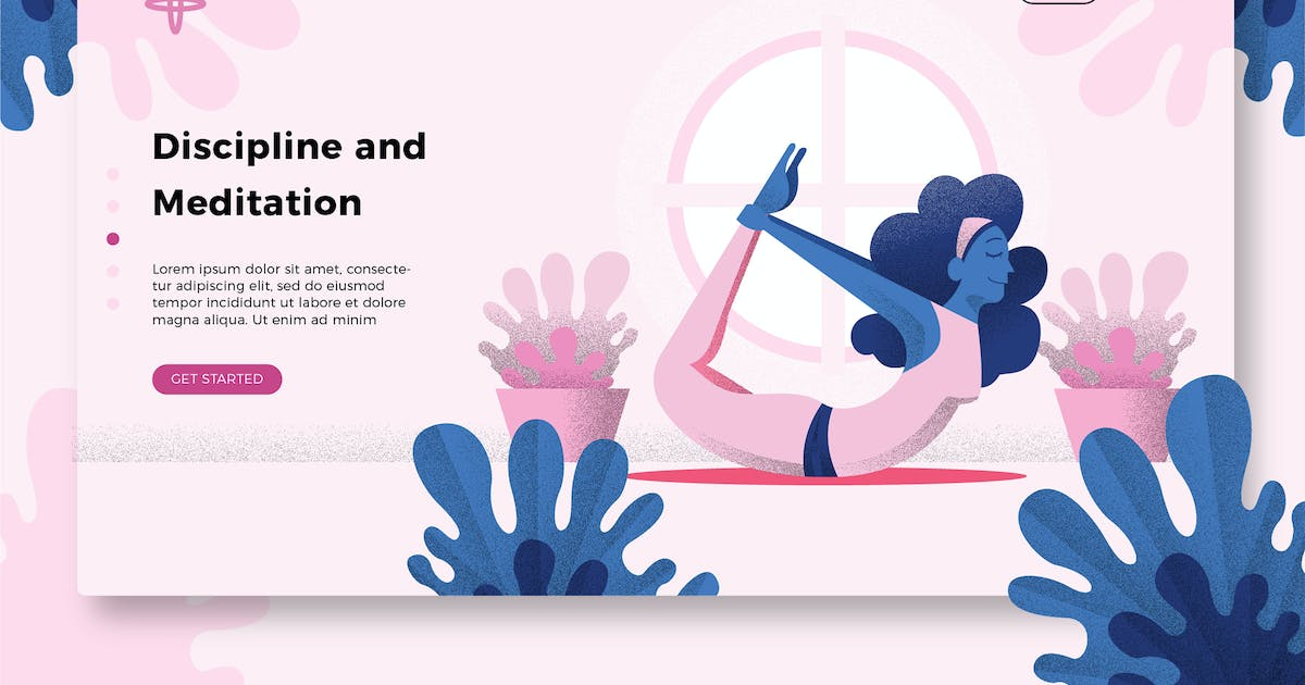 Yoga Meditation Banner Landing Page By Aqrstudio On Envato Elements