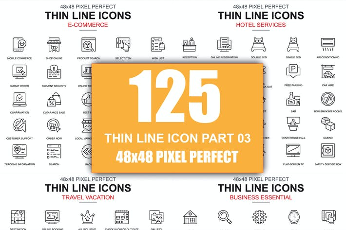 Thumbnail for Set of Thin Line Business Icons