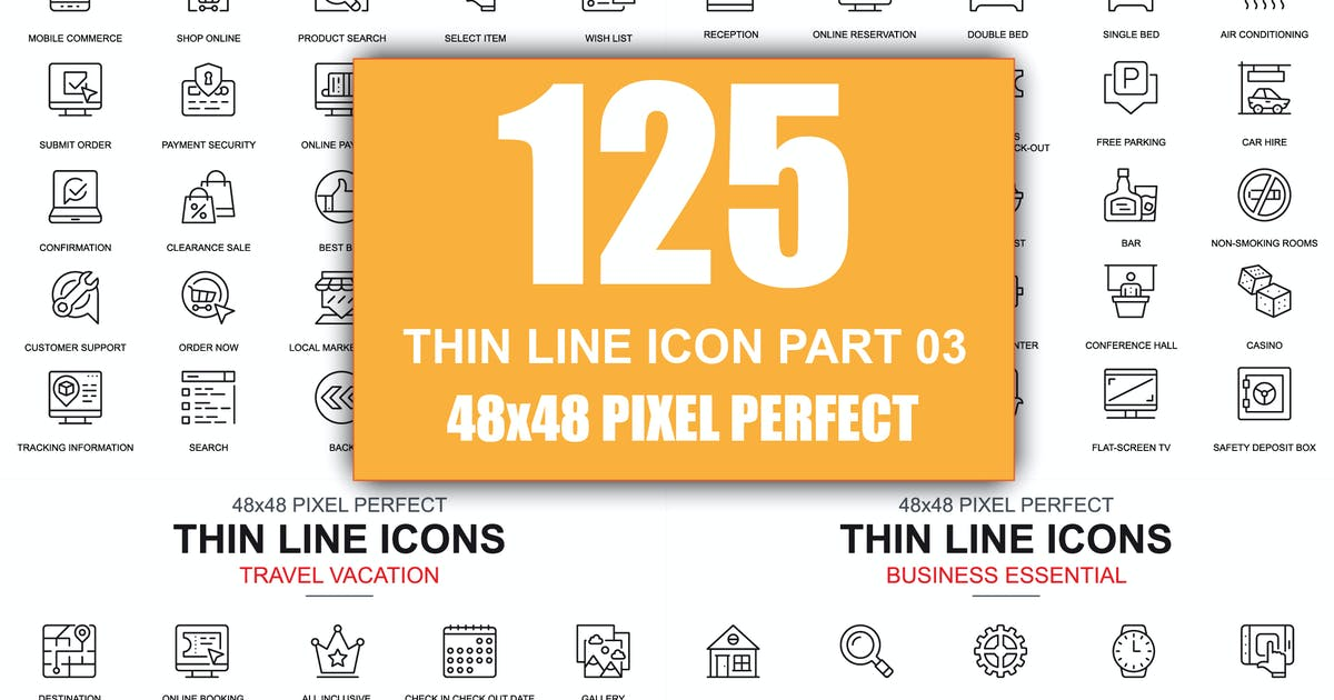 Download Set of Thin Line Business Icons by alexdndz