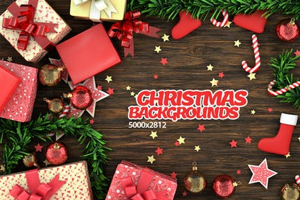 Christmas Objects on Table Backgrounds