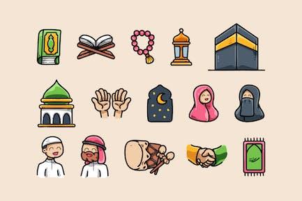 Ensemble d'icônes islamiques