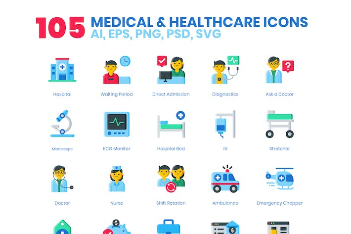 Thumbnail for 105 Medical & Healthcare Icons