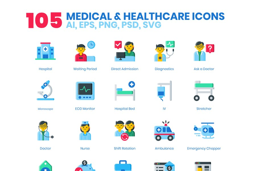 105 Medical & Healthcare Icons