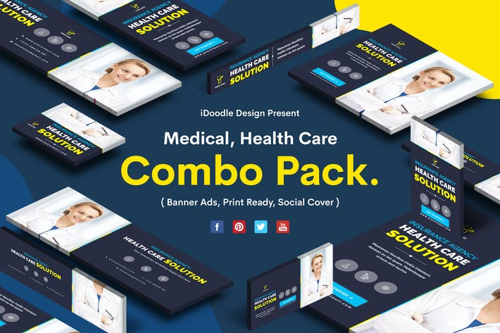 Thumbnail for Medical Combo Pack-Banner Ad, Print Ready, Socials
