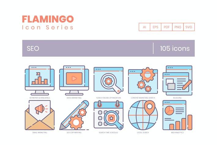 Thumbnail for 105 SEO Icons | Flamingo Series
