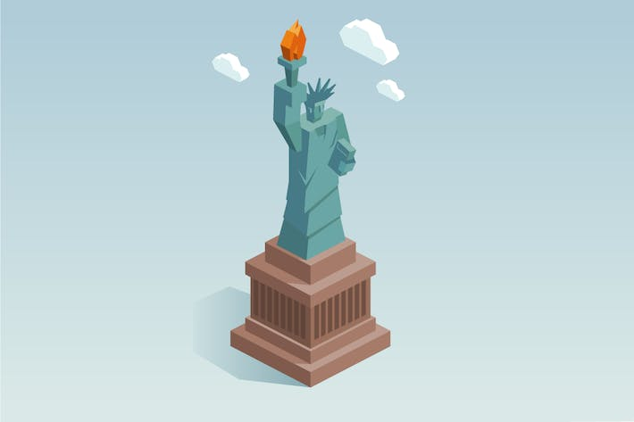 Thumbnail for Liberty statue in isometric vector
