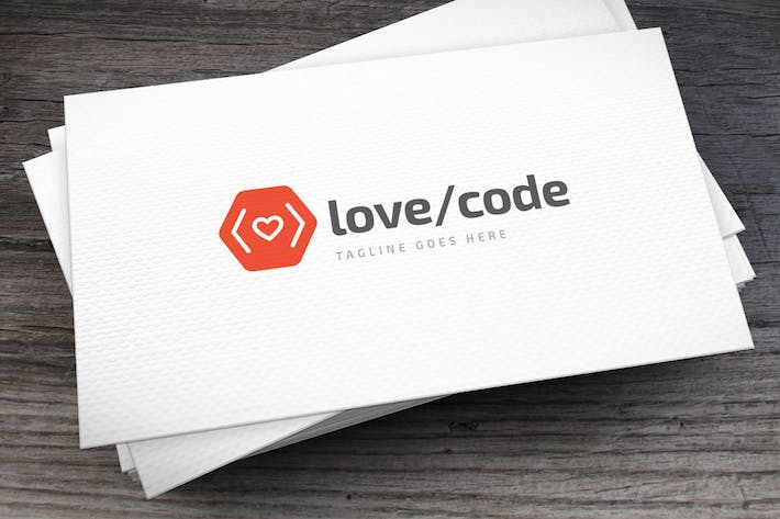 Cover Image For Love Code Logo Template