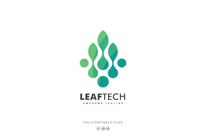 Thumbnail for Abstract Leaf Tech Color Gradient Logo