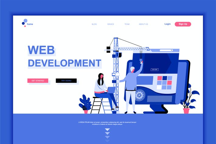 Thumbnail for Web Development Flat Landing Page Template