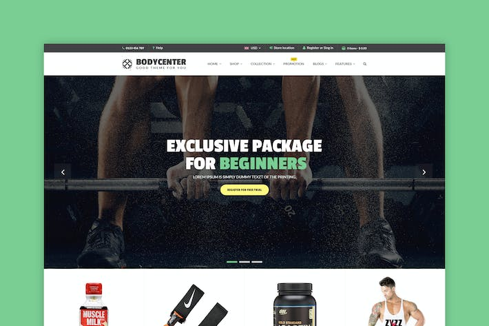 Thumbnail for BodyCenter - eCommerce PSD Template